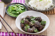 Chinese Five-Spice Meatballs with Snow Peas & Jasmine Rice. Visit https://www.blueapron.com/ to receive the ingredients.