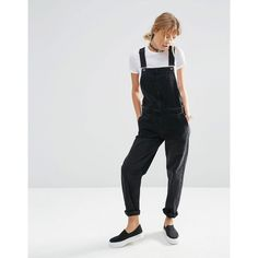 ASOS Denim Overalls in Washed Black (94 AUD) ❤ liked on Polyvore featuring jumpsuits, washedblack, denim overalls, asos, asos jumpsuit, playsuit romper and romper jumpsuit