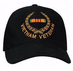Low Profile Insignia Hat   Vietnam Veteran   Black