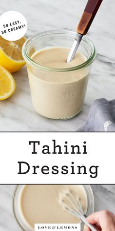 Keep this tahini dressing recipe on hand at all times! It's creamy, rich, nutty, and bright - perfect for tossing with salads and drizzling over roasted veggies, grain bowls, falafel, and more. | Love and Lemons #tahini #dressing #mealprep #healthyrecipes