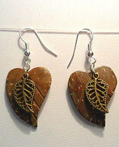 Dangle earrings - Coconut shell 26mm leaf, bronze leaf #MaryHJewellery #DropDangle