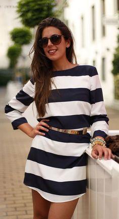 #street #fashion long sleeve dress / black & white nautical stripes @wachabuy