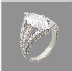 Double Split Shank Marquise ring