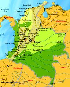 Resultado de imagem para mapas colombia Pereira, Maps, Colombia Map, Buenaventura, Saint Joseph, Cartagena, Venezuela