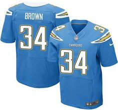 San Diego Chargers 34 Brown Electric Light Blue Elite
