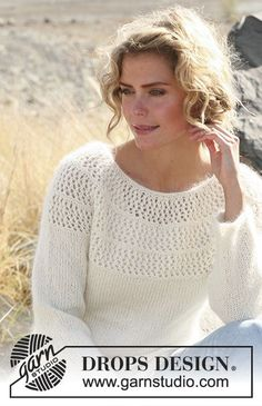 """Autumn afternoon / DROPS - free knitting patterns by DROPS design Autumn Afternoon / DROPS - DROPS sweater with lace pattern and round yoke in """"Alpaca"""" and """"Kid-Silk"""". Sweater Knitting Patterns, Crochet Cardigan, Lace Knitting, Knitting Designs, Knit Patterns, Knit Crochet, Drops Patterns, Drops Design, Knitting For Kids"""