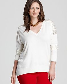 MICHAEL Michael Kors Long Sleeve V Neck Pullover Sweater | Bloomingdale's