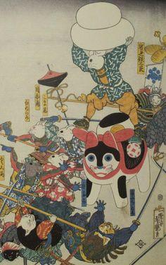 Japanese Pop Art, Ancient Japanese Art, Japanese Cat, Japanese Quilts, Japanese Illustration, Illustration Art, Illustrations, Japanese Mythical Creatures, Traditional Paintings