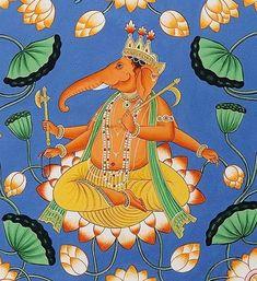 Lord Ganesha Paintings, Ganesha Art, Diwali Gods, Pichwai Paintings, Indian Illustration, Digital Art Fantasy, Indian Artist, God Pictures, Ancient Art