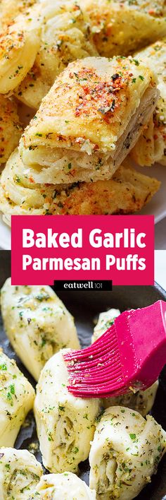 Baked Garlic Parmesan Puffs Are you looking for a great recipe to insert in your menu planning this week? Try these incredibly easy, fool-proof parmesan garlic bites. They come together in less than 20 min and use just basic … Baked Garlic, Garlic Parmesan, Garlic Rolls, Garlic Knots, Cheesy Garlic Bread, Garlic Butter, Pan Relleno, Great Recipes, Favorite Recipes