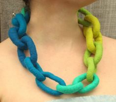 Felt Necklace. Chunky Chain Link Felted Necklace. Handmade Felt Jewelry by HandiCraftKate on Etsy $45