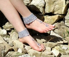 Crochet barefoot sandals gray sandals,.