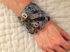 Don't toss those old Jeans out yet - salvage the seams, cut them into strips & weave them into a nazzy bracelet (sorry no instructions-just photo inspiration)