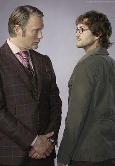 Mads Mikkelsen as Hannibal Lecter and Hugh Dancy as Will Graham