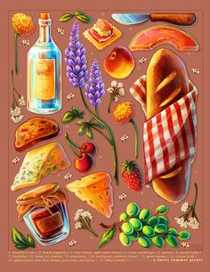 """Thinking about summery picnics. Bread Art, Prop Design, Design Ideas, Food Icons, Food Drawing, Cute Chibi, Spring Recipes, Food Illustrations, Potpourri"
