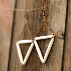Bone Triangle Earrings