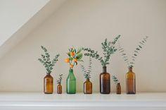 Love vintage bottles. Love eucalyptus.