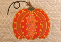 Pumpkin quilt block and table runner 6x10 8x12 9.5x14 hoop   Sweet Pea Machine Embroidery Designs