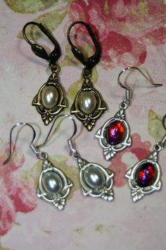 Darling Art Deco Wedding Earrings Dragon'S Breath Or Pearl Sterling Or Brass