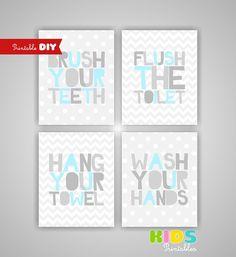 printable diy kids bathroom art light blue by