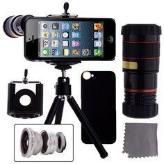 iPhone 5 photography kit. 4 lens options and a mini tripod. Cool stuff!