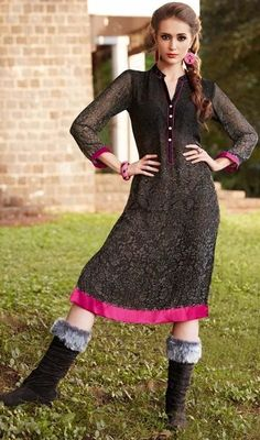 Dress like none amongst the crowd in this black color shade georgette printed tunic. This ravishing attire is amazingly embroidered with print and lace work. #alluringpatterntunics #blacktunictop #straighttunictops