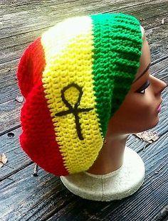 Red yellow green rasta ankh slouch beanie hat