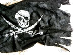 Pirate Flag Nautical Art, maritime home decor, black and white, cotton, hand painted, Calico Jack skull and sabers, gift for sailors on Etsy, $35.00