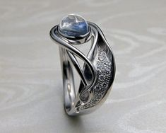 Contemporary, Art Nouveau style engagement ring, with blue moonstone — Metamorphosis Jewelry Custom Made Engagement Rings, Contemporary Engagement Rings, Band Engagement Ring, Engagement Ring Settings, Blue Moonstone, Moonstone Jewelry, Art Nouveau Ring, Ring Designs, Wedding Rings