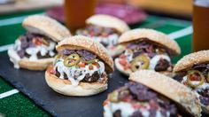 Combine beefy burgers and cheesy nachos with Bobby Flay's delicious nacho burgers that are perfect for game-day.
