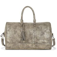 Sole Society Landin Large Tassel Weekender ($90) ❤ liked on Polyvore featuring bags, luggage y grey