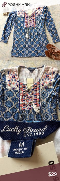 NWT lucky Brand boHo embroidered cotton/linen top Gorgeous NWT lucky Brand boHo embroidered cotton/linen top. 🌸 In really good condition! 🌸☺️Feel free to ask me any questions and Bundle for more discount!!!  🌸 😊Thanks for visiting. 🌸💕 Love, Bhakti 💕🌸 Lucky brand Tops Tunics