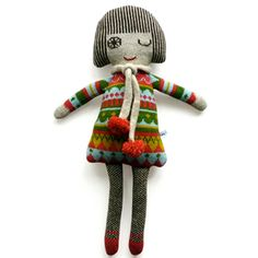 Knitted lambswool vintage  fairisle dolly - Sally Nencini