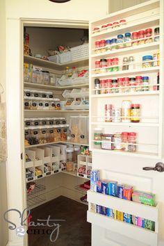 Organize Your Walk-In Pantry With Labeled Baskets and Clear Canisters - 30 Kitchen Pantry Closets That Are Perfectly Organized Small Pantry Organization, Recipe Organization, Organized Pantry, Organization Ideas, Storage Organization, Organizing Tips, Storage Ideas For Pantry, Storage Shelves, Clever Storage Ideas