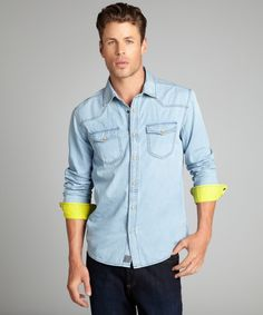 Just A Cheap Shirt indigo and yellow chambray snap front button down shirt | BLUEFLY up to 70% off designer brands