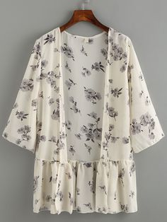Kimono ribete de volantes flor gasa-(Sheinside)