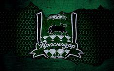 Download wallpapers FC Krasnodar, 4k, logo, Russian Premier League, soccer, football club, Russia, grunge, metal texture, Krasnodar FC