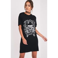 Rebel Skull Black Printed T shirt Dress-6 ($15) ❤ liked on Polyvore featuring dresses, black, skull dress, rose print dress, t-shirt dresses, skull t shirt dress and short-sleeve dresses