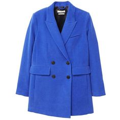 Double-Breasted Coat (€100) ❤ liked on Polyvore featuring outerwear, coats, button coat, fur-lined coats, blue double breasted coat, long sleeve coat and blue coat