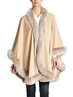 Sofia Cashmere - Cashmere & Fox Fur Cape small