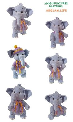 Cute Elephant, Free Crochet, Crochet Patterns, Teddy Bear, Life, Animals, Amigurumi, Animales, Animaux