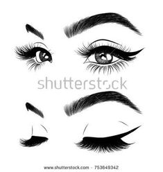 icu ~ Pin on On brand ~ - Hand-drawn woman's sexy luxurious eye with perfectly shaped eyebrows and full lashes. Idea for business visit card, typography vector.Perfect salon look. Eyebrows Sketch, Eyelashes Drawing, How To Draw Eyelashes, False Eyelashes, Vanity Makeup Rooms, Eyelash Logo, Lashes Logo, Indian Folk Art, Beauty Logo