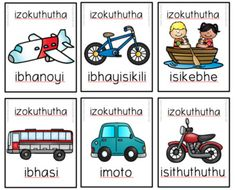 Isizulu Transport / Izokuthutha SNAP / Flashcards Zulu Language, Grade R Worksheets, Reading Comprehension Passages, Languages, School Stuff, Transportation, Education, Learning, Cards