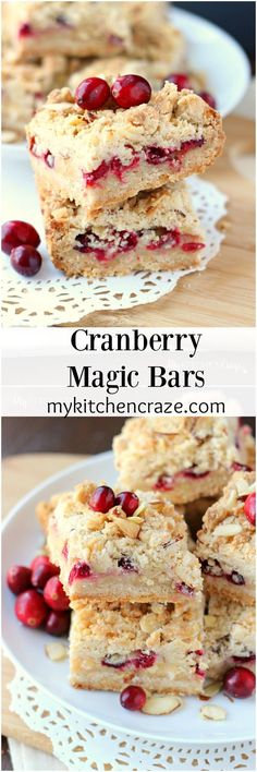 Cranberry Magic Bars ~ A twist on the classic magic bars. These have layers of white chocolate chips, flakey coconut, condensed milk and fresh cranberries.
