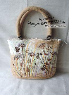 Handmade felted purse, Top handle bag, Wool Purse, Felted handbag, Shoulder bag, Beige handbag