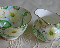 Vintage Tuscan Bone China Porcelain Creamer and Sugar Bowl. Hand Painted Serving Dishes with Dogwood Pattern.  Made in England. C 9790