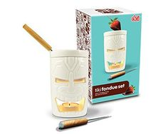 This Tiki Fondue Set is perfect for your next Luau. Sized just right for two people, the melting pot is heated with a votive candle. Great for desserts, appetizers or serving along with a main dish. Includes 2 fondue forks. Removable ramekin for easy cleaning. Hand wash only. Made of ceramic. Candle not included. Fun