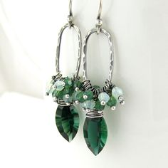 Emerald Earrings Chrome Diopside Green Crystal Earrings Opal Swarovski Crystal Sterling Silver Oxidized Fashion Jewelry Beth. $74.00, via Etsy.