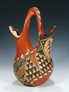 Jemez Pueblo florero de la cerámica de la boda