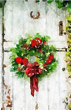 Christmas Wreath Waterlogue